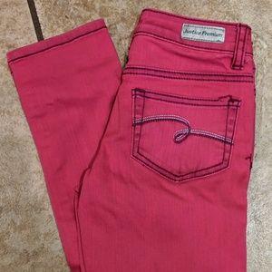 Cool pink Justice skinny jeans sz 8 reg EUC